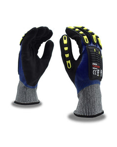 (Sold by the Pair) TUF-COR Impact™ Cut-Resistant HPPE Shell, Full Nitrile Palm Coating, TPR Glove ANSI Cut Level A4