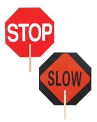 2 Sided STOP/SLOW Hand Held Plastic Paddle Sign
