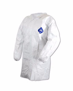 (30/Case) White Dupont TYVEK Lab Coats Snap Front No Pockets with Elastic Wrists