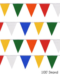 (50/Strand Case) Presco Multi-Color 100 ft Pennant Flags