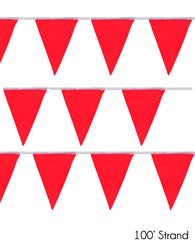 (50/Strand Case) Presco Red 100 ft Pennant Flags