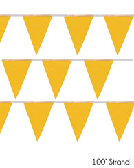 (50/Strand Case) Presco Yellow 100 ft Pennant Flags