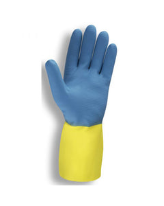 Premium Blue/Yellow Neoprene over Latex, Flock Lined, 28-mil Gloves