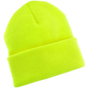 ($4.08 each - 12/Case) Hi-Vis Safety Neon Yellow Knit Beanie Cap Knit Hat