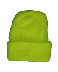 ($2.83 each - 12/Case) Hi-Vis Yellow Knit Beanie Cap Winter Hat Liner