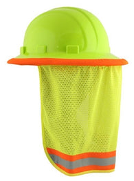 Hi-Viz Lime Mesh Hard Hat Neck Shield - 3/Pack