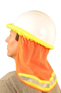 Hi-Viz Orange Mesh Hard Hat Neck Shield - 3/Pack