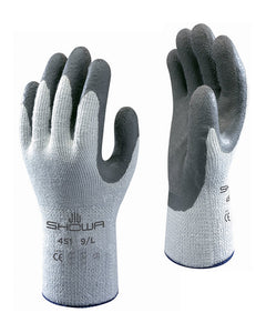 (12 Pairs) Showa Best Atlas 451 Gray Winter Therma Fit Latex Coated Palm Gloves