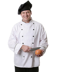 12 Button Long Sleeve Executive Chef Coat with Black Piping