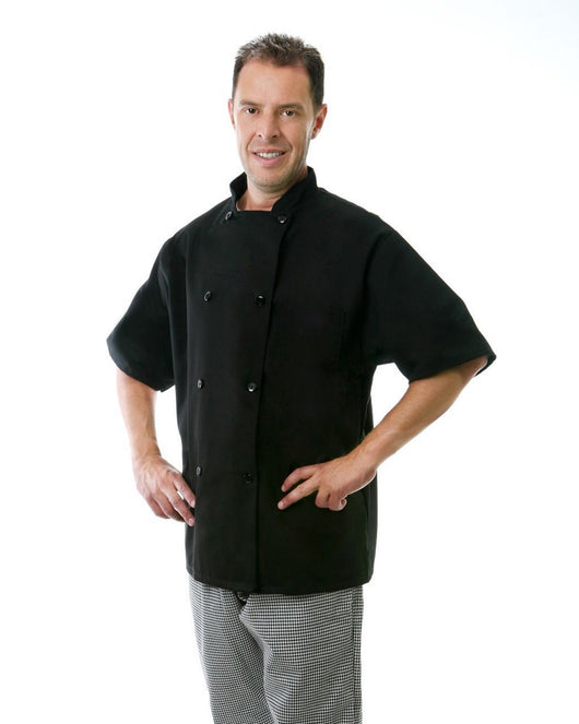 10 Button Short Sleeve Classic Chef Coat - Black