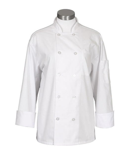 10 Button Mesh Back Long Sleeve Chef Coat - White
