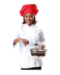 12 Button Women's Fitted Long Sleeve Chef Coat - White