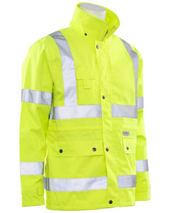 Class 3 ANSI/ISEA 107 Hi-Viz Lime Rain Coat with Removable Hood