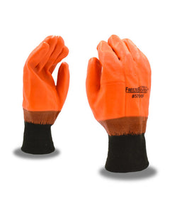 Orange Smooth Finish PVC Knitwrist Gloves