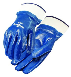 (12 Pairs/Case) Blue Steel™ Nitrile Fully Coated Smooth Finish Safety Cuff Work Gloves