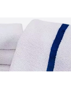 (20 Dozen Bale - 240 Each)  Pool Towel 20X40 Blue Center Stripe 100% 2 Ply Cotton