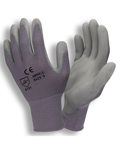 (Dozen) Lightweight Polyurethane Gray Palm Coated Gloves w/ Gray Nylon Shell