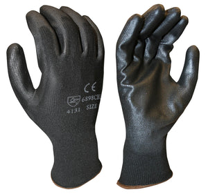(Dozen) Lightweight Polyurethane Black Palm Coated Gloves w/ Black Polyester Shell