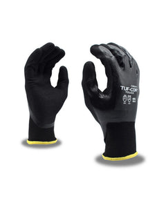 (Dozen) Tuf-Cor Touch™ Black Nitrile Palm Coated Gloves w/ Black Polyester Shell & Touchscreen Capabilities
