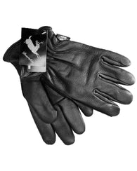 Black Deerskin Leather Thinsulate Driver Gloves