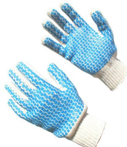 Blue Block Knit Gloves