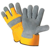(6 Dz/Case) High Vis Yellow Heavy Duty Premium Leather Palm Safety Cuff Gloves