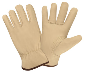 Standard Grain Cowhide Driver Gloves, Unlined, Shirred Elastic Back, Keystone Thumb