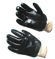 Black PVC Smooth Coated Gloves Knitwrist