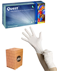 (20 Case/Quarter Pallet) Aurelia Quest White 3.5mil Nitrile Powder Free Exam Gloves