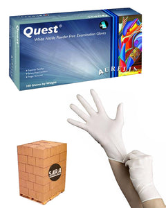 (112 Case/Full Pallet) Aurelia Quest White 3.5mil Nitrile Powder Free Exam Gloves