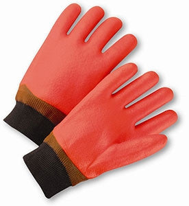 Orange Rough Finish PVC Knitwrist Gloves
