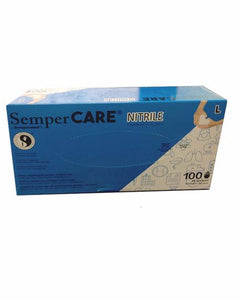 (10 Case/1000 Gloves) SemperCare Blue Powder Free 4mil Disposable Generic Exam Grade Nitrile Gloves