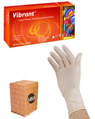 (20 Case/Quarter Pallet) Aurelia Vibrant Latex Powder Free 5mil Disposable Exam Gloves