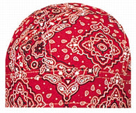 (12/Case) Biker Red Paisley Cap Head Wrap