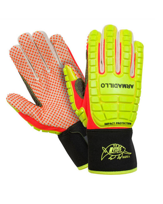Armadillo Hi-Vis Green & Orange Impact Glove with Silicon Dots