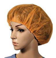 (1000/Case) Orange Disposable Polypropylene Bouffant Caps