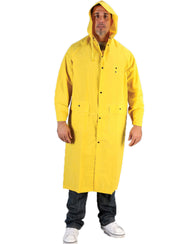 48 Inch Long Knee Length Yellow Raincoat with Hood