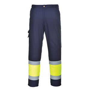 Class E ANSI/ISEA Portwest Hi-Vis Two-Tone Pants Yellow/Navy