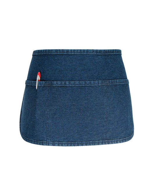 (6/Case) 3 Pocket Rounded Bottom Waist Apron - Stonewashed Denim