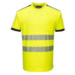 Class 2 Portwest PW3 Hi-Vis Short Sleeve T-Shirt Yellow/Black