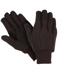(12 Pairs) 10.5 oz Heavy Weight Brown Jersey Gloves with Knit Wrist