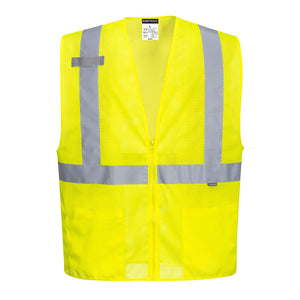 (6/Case) Class 2 Portwest Economy Mesh Zipper Vest Yellow