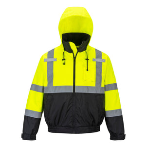 Class 3 Portwest Yellow Hi-Vis Premium 2-in-1 Bomber Jacket