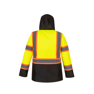 Class 3 Portwest Hi-Vis Contrast Tape Traffic Jacket Yellow/Black