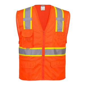 (3/Case) Class 2 Portwest Orlando Contrast Mesh Vest Orange