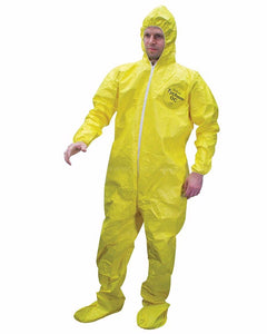 (12/Case) Dupont Tychem QC Coveralls with Attached Hood, Elastic Wrists & Socks - Serged Seams