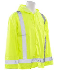 Class 3 ANSI/ISEA 107 Hi-Viz Lime Oversized Rain Coat with Attached Hood