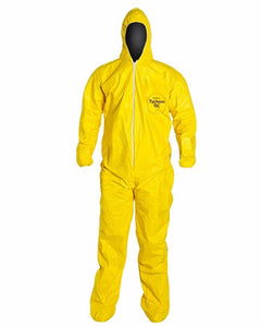 (12/Case) Dupont Tychem QC Zipper Front Coveralls w/ Attached Hood, Elastic Wrists & Ankles - Serged Seams