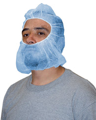(1000/Case) Polypro Disposable Blue Hood Bouffant Beardcover Combo