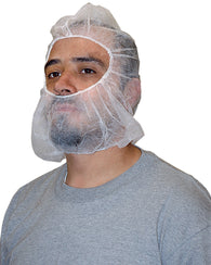(1000/Case) Polypro Disposable White Hood Bouffant Beard Cover Combo